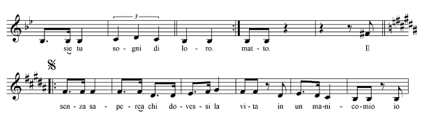 "Ejemplo 4. ""Un matto"", cc. 30-40 (transcripción propia)"