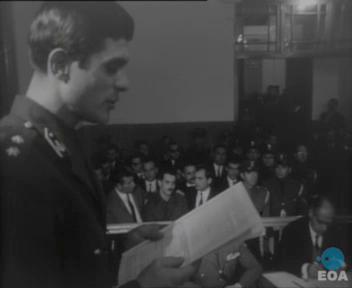 """« Procès d'Alexandos Panagoulis, dirigeant de l'organisation """"Résistance Nationale"""", pour la tentative d'assassinat de Georgios Papadopoulos, par le Tribunal Militaire » (31 octobre 1968 – 6 novembre 1968)"""